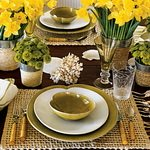 Formal Yellow Table Setting